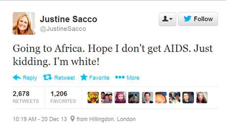 Source: http://www.theguardian.com/world/2013/dec/22/pr-exec-fired-racist-tweet-aids-africa-apology